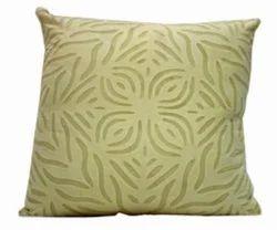 Plain Dyed Organdi On Cotton Applique Cut Work Cushion Cover, Size: 18*18, Shape: Square
