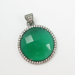 Green Onyx CZ Pave Set Gemstone Pendant