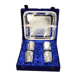 Silver Plated Water Glass Set With Tray