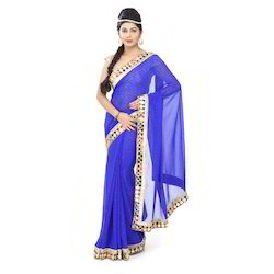 Georgette Plain Designer Saree, Length: 6.3 m