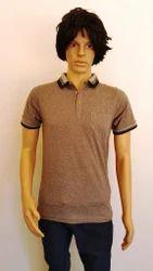 Mens Cotton Collar Plain T Shirt, Size: S to XL