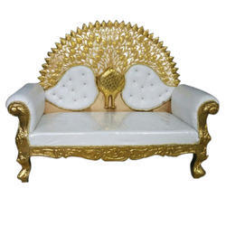 Mango Wood Sofa. Color: White And Golden