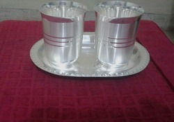 Silver Coated Two Glass With Tray Set