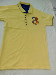 Hype Cotton Yellow Mens Polo T Shirt, Size: Small