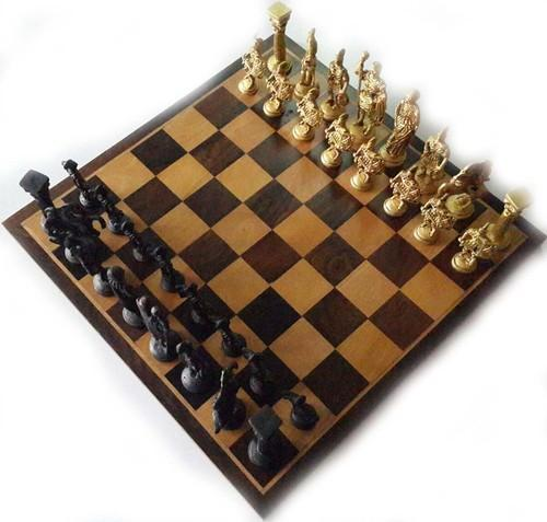 Brass Chess Coins With Wooden Board