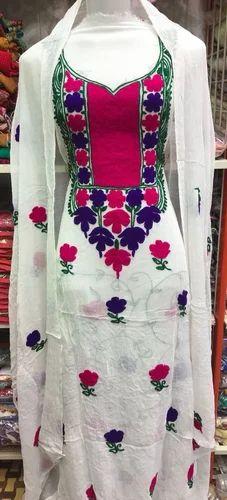 Georgette Embroidered Aari Work Dress Material Id 18590672512