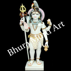 painted Marble Shiva Statue