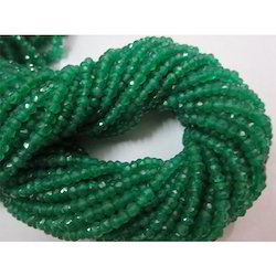 Natural Green Onyx Rondelle Beads Faceted