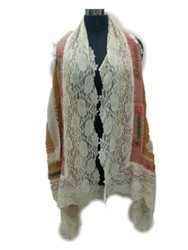 Boiled Wool Scarf With Lace