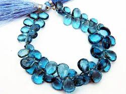 London Blue Quartz Faceted Pear Briolettes