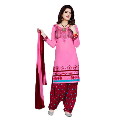 ba6f05d57c Pink And Red Cotton Patiala Suit, पटियाला सूट - Asma ...