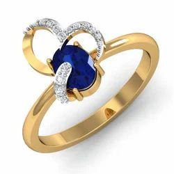 Blue Stone 14K Gold Diamonds Ring