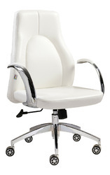 PU leather Leatherette White Premium Medium Back Chair, For Office