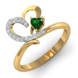 Heart Shape Green Stone Gold Diamonds Ring