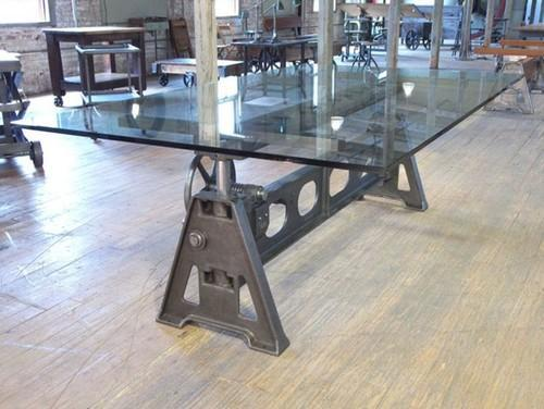 Merveilleux Industrial Metal Crank Glass Top Dining Table
