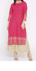 Party wear Visudh Women Pink Straight Kurta
