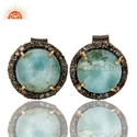 Larimar Pave Diamond Stud Earrings