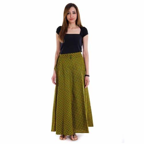 6752889e6 Rajasthani Trendy Block Print Green Yellow Wrap Around Skirt at Rs ...