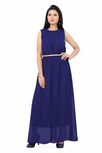 01a913234f23c4 Ishin Georgette Navy Blue Maxi Dress at Rs 699 /piece(s ...