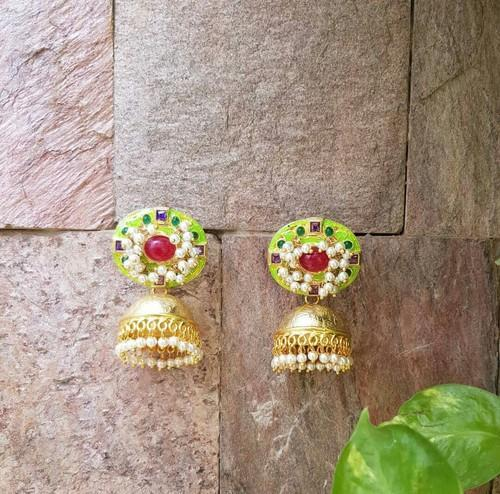 Meena Stud With Golden Jhumka