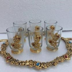 New Jaipur Handicraft Serving Tray Glass Set