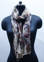 EGSC00033 Paisely Print With Contrast Pom Pom Lace Scarf