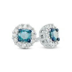 Real Blue Diamond Cluster Earring