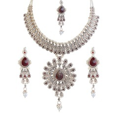 Gold And Silver Crystal Necklace Set With Maang Tikka