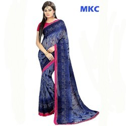 Georgette Blue With Pink Border Print Saree