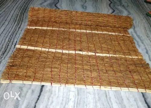 Brown Plain Khus Curtain Vetiver Root Mat For Window