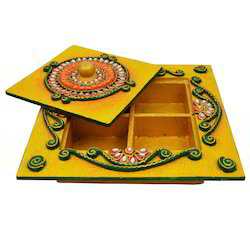 Wooden & Paper Mache Dry Fruit Box with Kundan Work