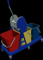 Three Bucket Wringer Mopping Trolley