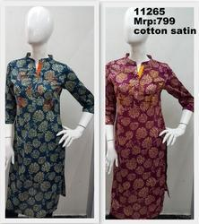 Cotton Satin Printed Kurta With Placket And Embroidery