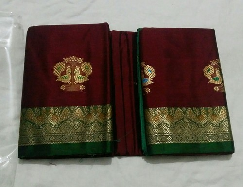 Maroon Colour Handmade OSP Brand Handloom Pure Silk Sarees, 6.3 m (with blouse piece), Hand Made