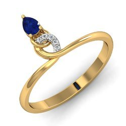 Hallmark Blue Stone Gold Diamonds Ring