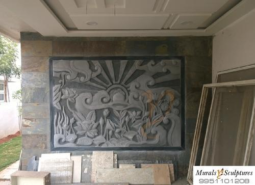 Elevation Stone Price In : Cement murals floral mural at parking wall