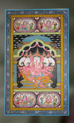 Panchamukhi 5 Headed Ganesha Under Canopy Painting