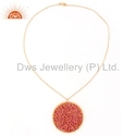 Beautiful Ruby Bead Set Gold On Silver Round Chain Necklace Pendant
