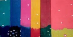 Cotton Plain Bandhini Saree with blouse, Machine wash