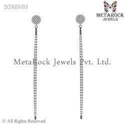 Handmade 925 Sterling Silver Bar Diamond Earring