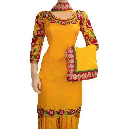 e5bb0b816b Casual Wear Cotton Yellow And Red Floral Embroidered Punjabi Suit ...