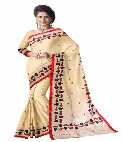2d94bbd5f3 BENGAL TANT COTTON Bengal Cotton Designer Saree With Applique Work, Without  Blouse
