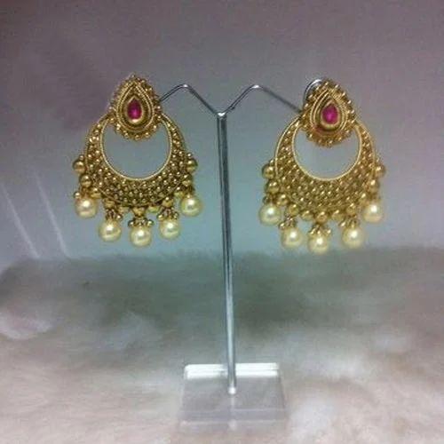 Ear Ring Design | Unique Designer Pearl Golden Earring Moti Ki Baaliyan P P Art