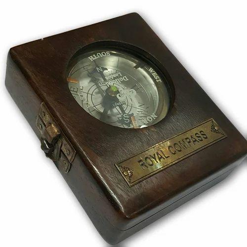 IN TEAK BOX SOLID BRASS REPLICA SUNDIAL COMPASS *GILBERT LONDON* SPIRIT LEVEL