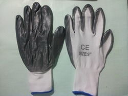 9 Inch Grey and White Nitrile Coated Gloves