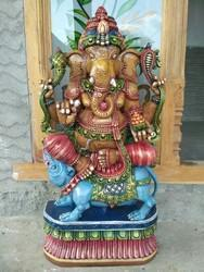 Blessing Ganesha Wooden Idol 3 Ft