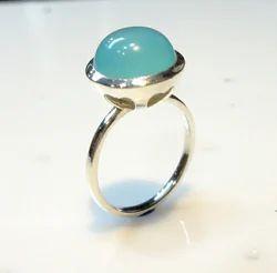 LE Blue Aqua Chalcedony Ring