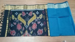 Casual Wear Pochampally Saree With Blouse Piece