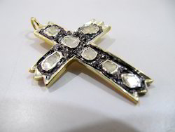 Diamond Cross Charm Pendant