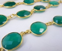 Green Onyx Bezel Station Chain